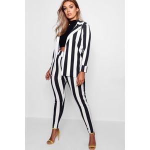 Black & White Striped Blazer & Trouser Pants Set